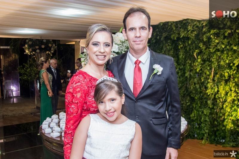 Elizangela, Maria Eduarda e Arthur Bastos
