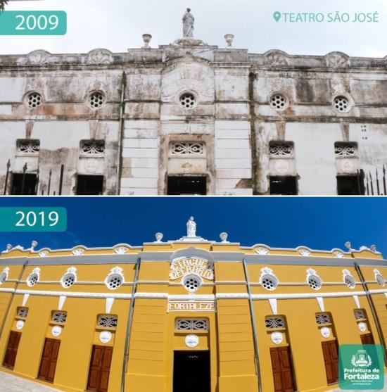 Antes e depois do Teatro São José
