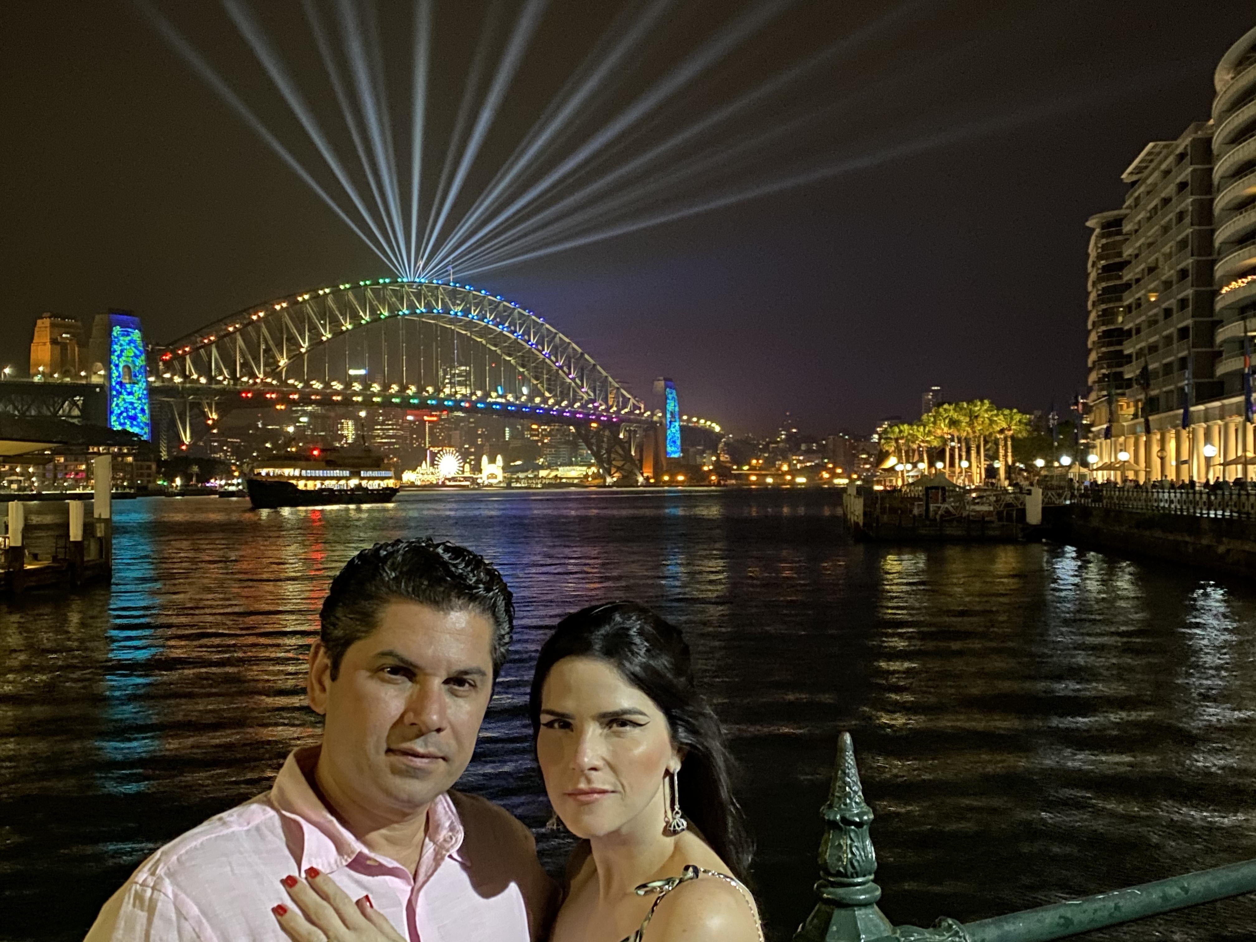 Pompeu Vasconcelos e Marília Quintão entram 2020 no Réveillon de Sydney