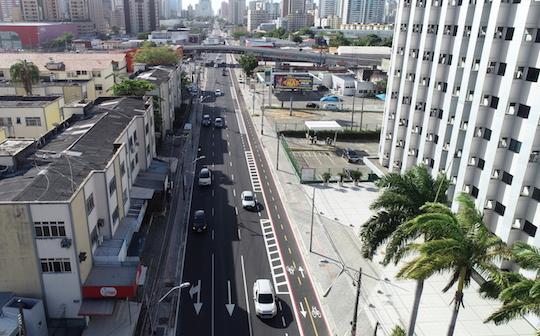 Prefeitura de Fortaleza libera tráfego na segunda etapa do binário da Av. Santos Dumont