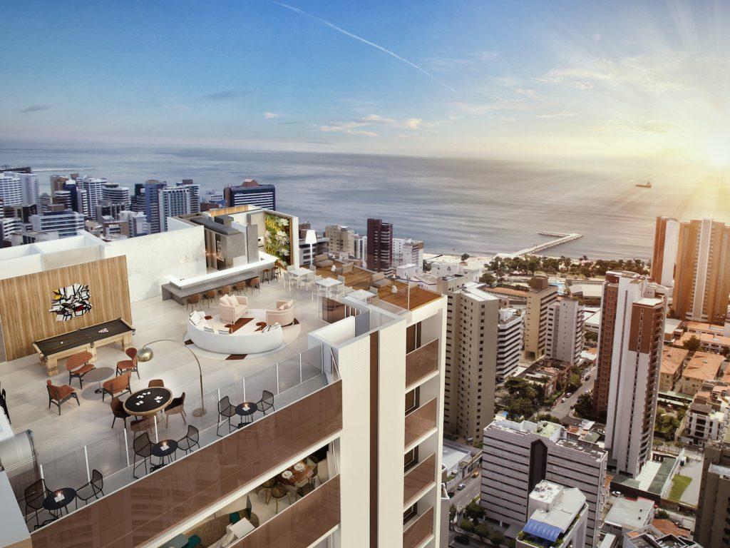 Perspectiva Artistica Da Vista Panoramica Do Rooftop Gourmet Para O Skyline Da Cidade Com Destaque Para O Mar (1)