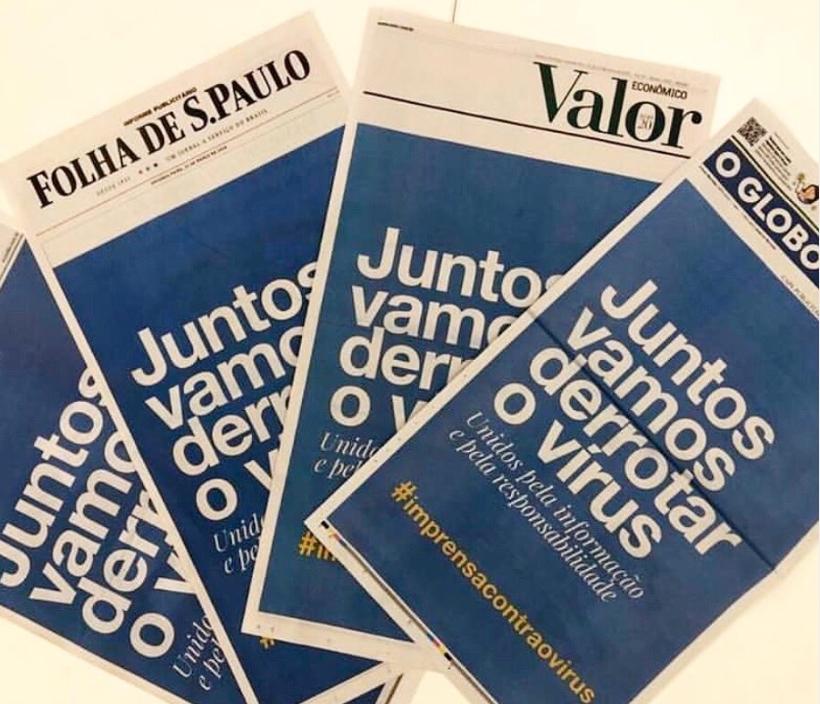 Jornais brasileiros unificam capa e mostram a responsabilidade da imprensa no combate ao Covid-19
