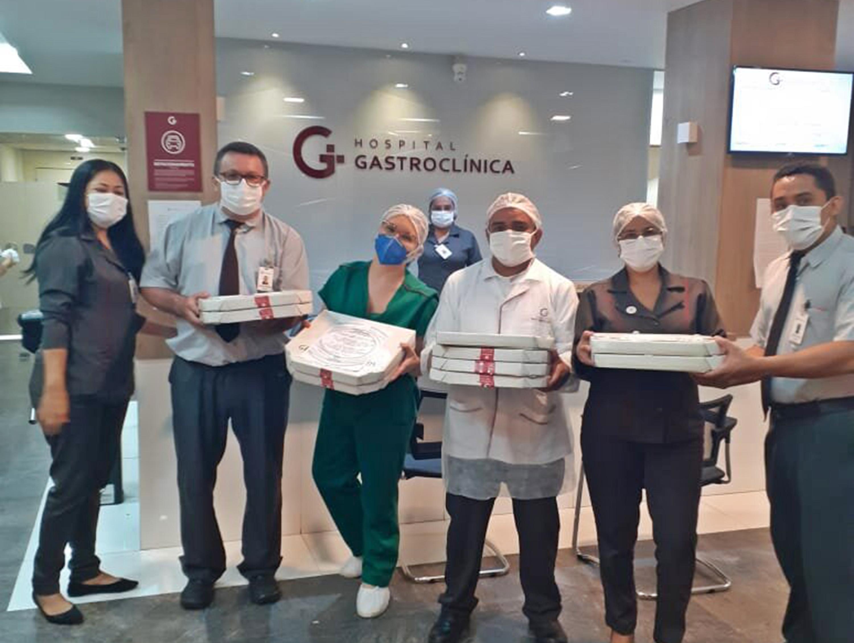 Grupo Geppos doa pizza para os profissionais de saúde na Gastroclínica