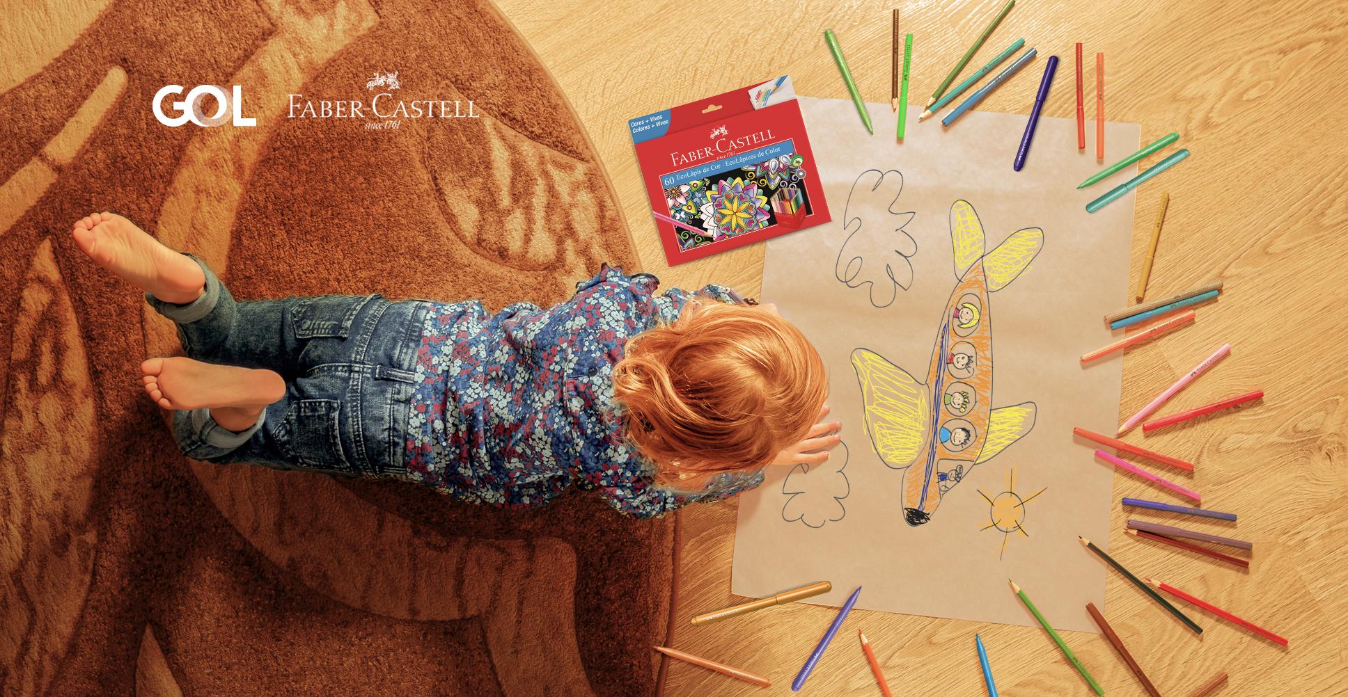 GOL e Faber-Castell se unem em ação para motivar pais e filhos a viajarem sem sair de casa