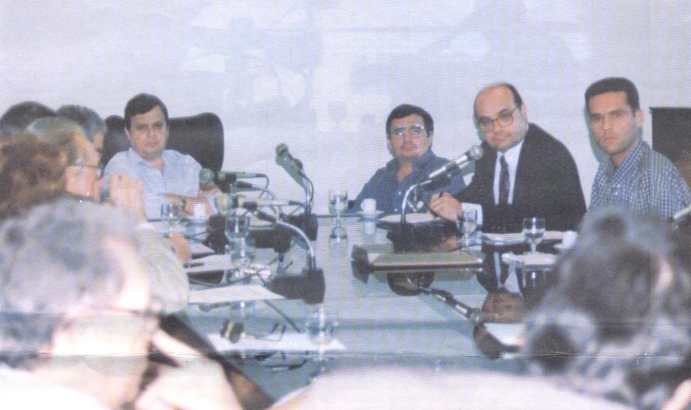 1998 Com O Então Governador Tasso Jereissati, O Então Pr Do Bnb Byron Queiroz, O Então Pr Da Fiec Fernando Cirino, Em Reunião No Palácio Do Cambeba