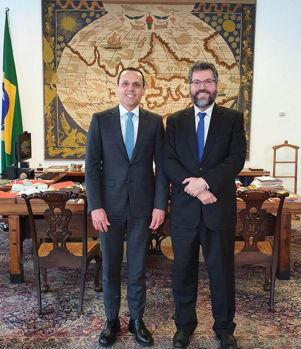 A Com O Ministro Das Relações Exteriores Ernesto Araújo, No Palácio Do Itamaraty, Em Brasília Em 2020