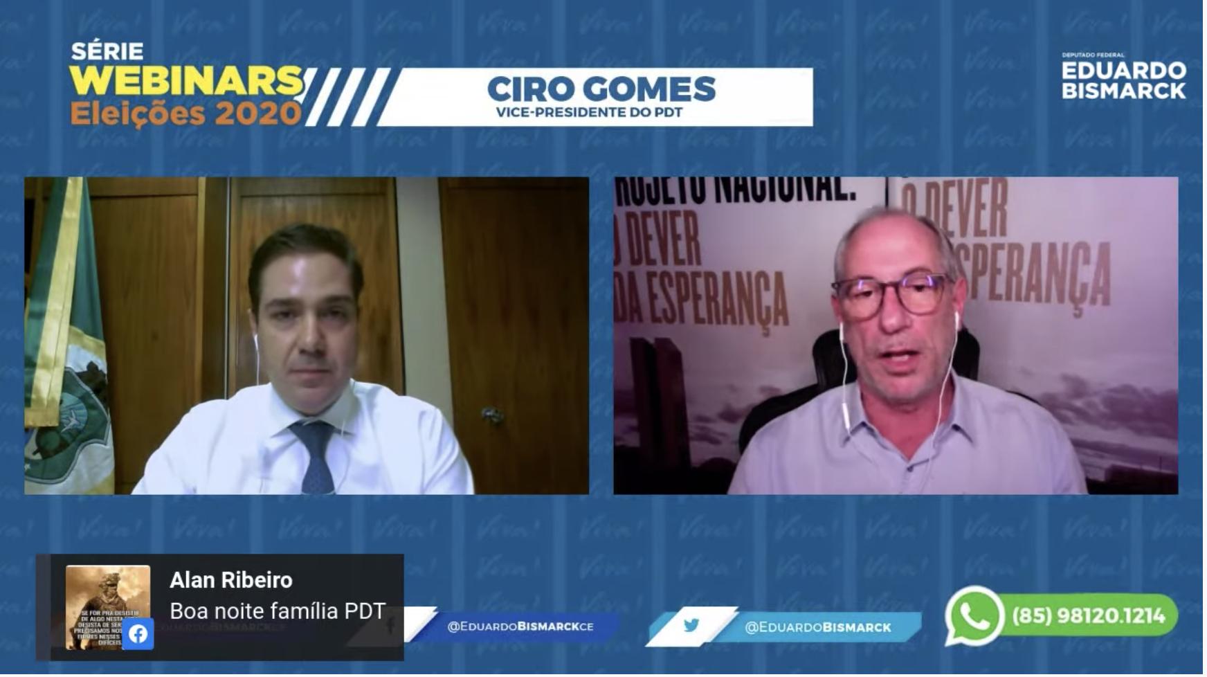 Ciro Gomes rasga elogios a Eduardo Bismarck no encerramento da série Webinars Eleições 2020