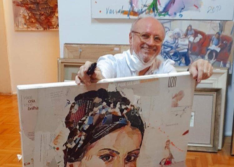Vando Figueiredo retrata Nicole Vasconcelos com técnica de recortes sobre tela
