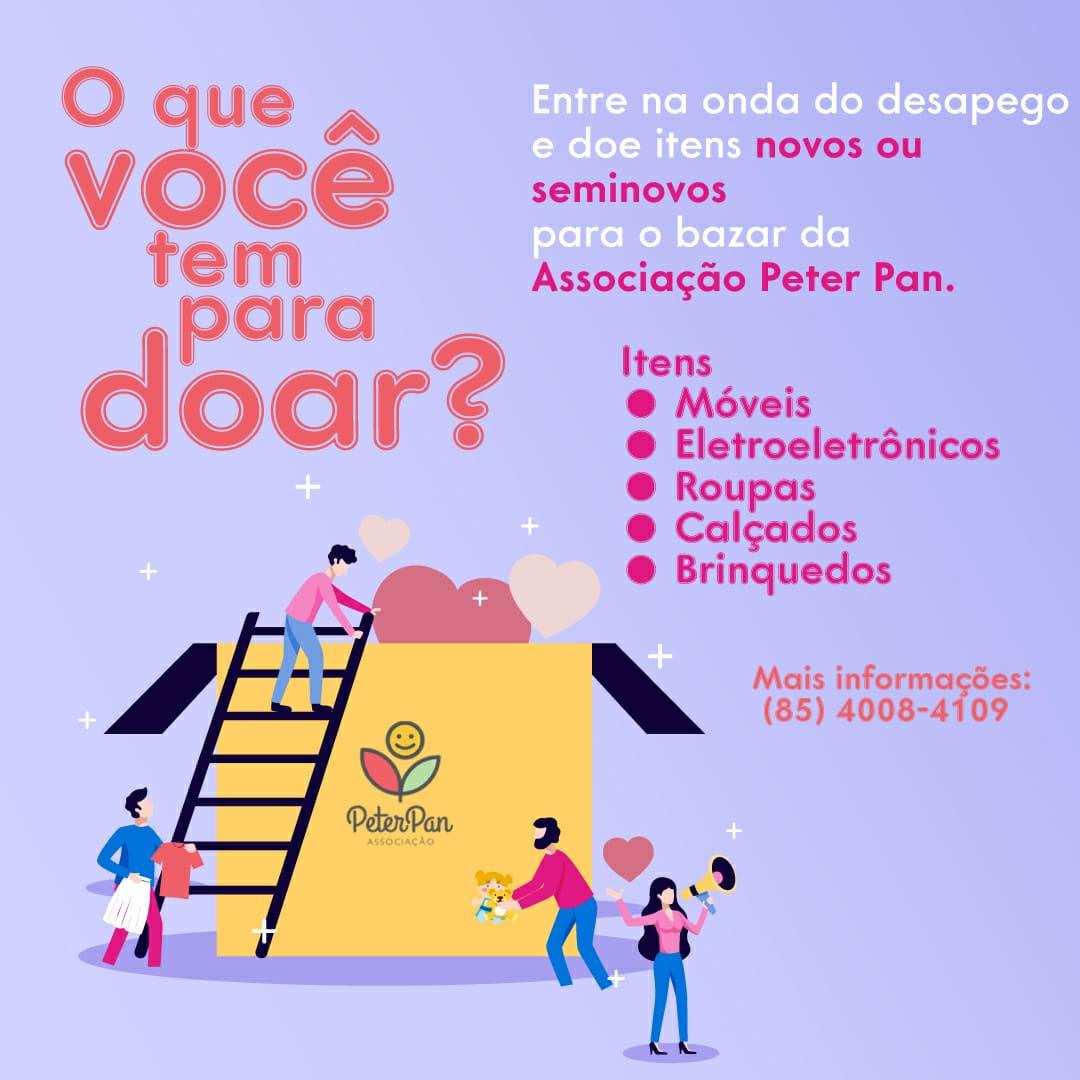Associação Peter Pan recolhe doações para elaborar bazar