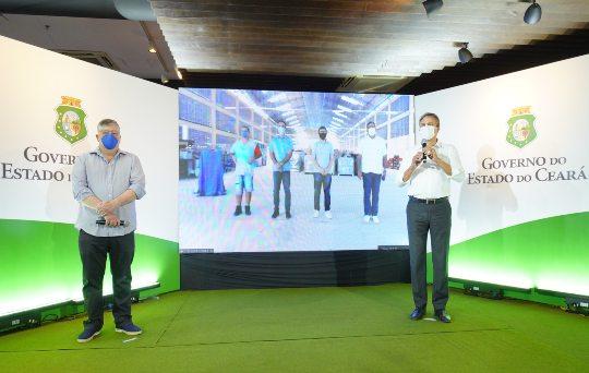 Camilo Santana participa, virtualmente, da inauguração de novo galpão fabril de empresa calçadista em Senador Pompeu