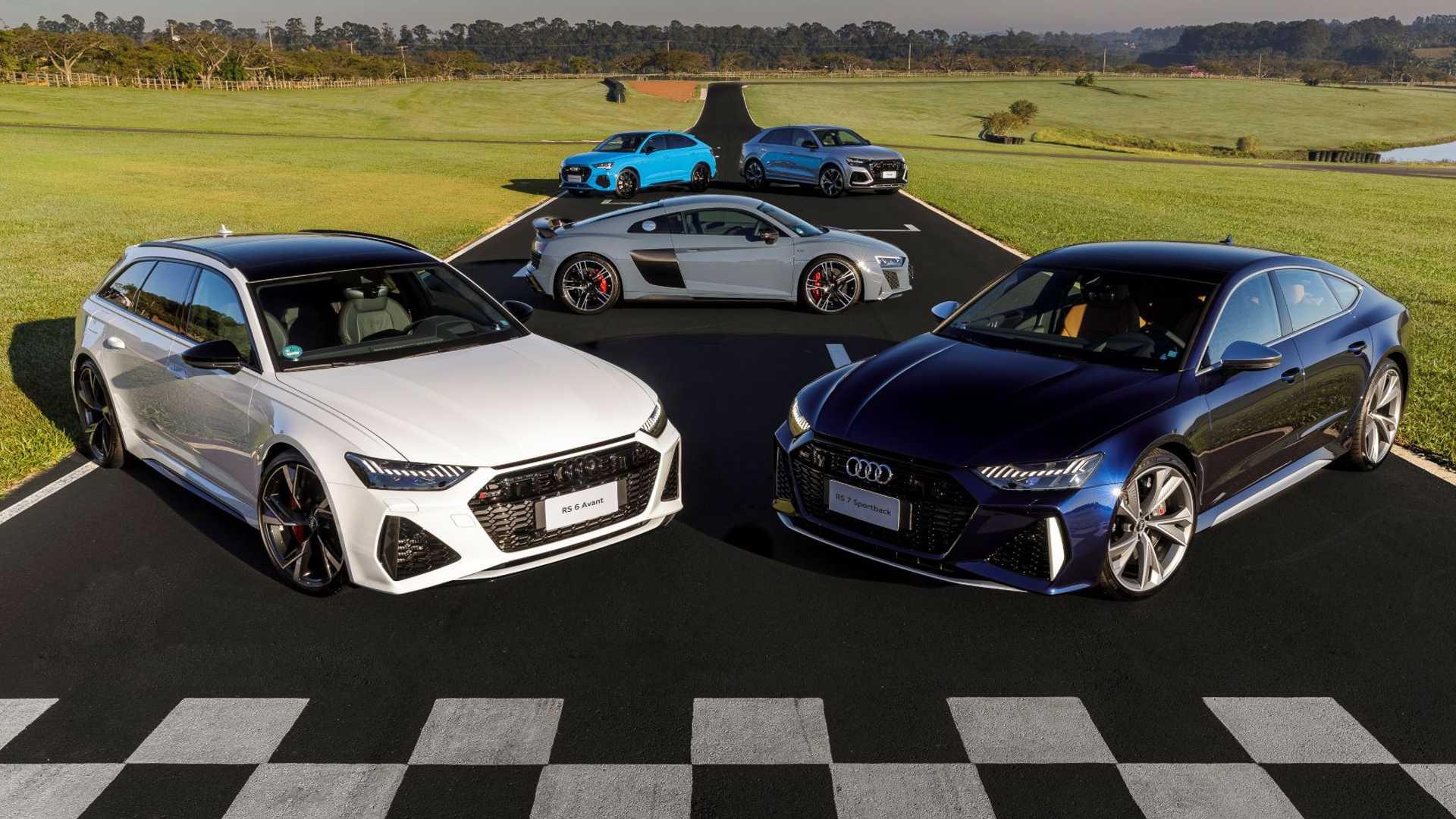 Primeiras unidades do RS 6 Avant, RS 7 Sportback e RS Q8, da Audi, já aportam no Brasil
