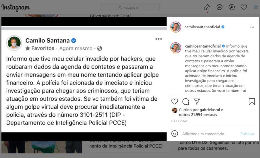 Celular do governador Camilo Santana é invadido e hackers tentam aplicar golpes
